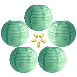Neo LOONS 5 Pack 12 Inch Mint Green Round Chinese/Japanese P