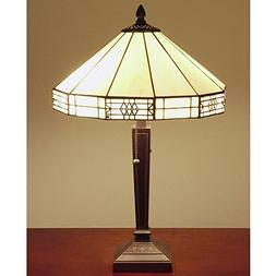 Tiffany Style Mission Yellow White Table Lamp