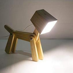 HROOME Modern Cute Dog Adjustable Wooden Dimmable Beside Des