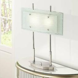 Modern Desk Table Lamp Chrome and Satin Nickel Glass Shade f