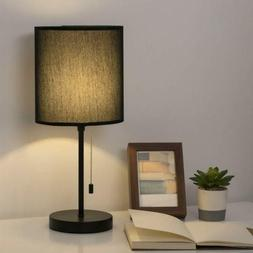 Modern Nightstand Lamp with Fabric Shade and Pull Chain Swit