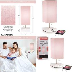 Modern Pink Small Table Lamp W Usb Quick Charging Port, Grea