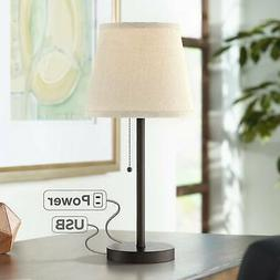 Modern Small Table Lamp with USB Outlet Bronze White Shade f