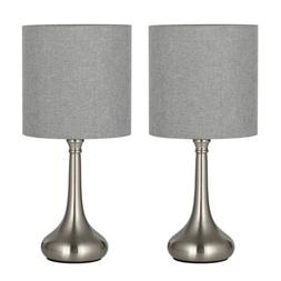 HAITRAL Modern Table Desk Lamp Set of 2 with Fabric Shade De