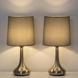 HAITRAL Modern Table Desk Lamp Set of 2 with Gray Fabric Sha
