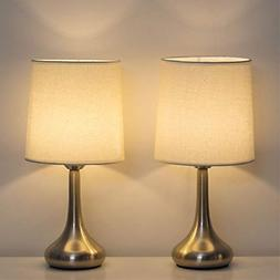 HAITRAL Modern Table Lamps - Small Bedside Desk Lamp Set of