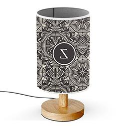 Monogram Name USB POWERED Wood Base Desk Table Bedside Lamp
