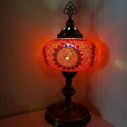 Mosaic Turkish Moroccan Table Bedside Desk Tiffany Lamp Red