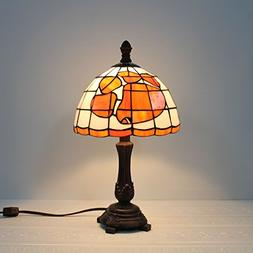 Gweat 9-inch NCAA Clemson Tigers Stained Glass Table Lamp