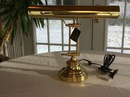 New, Polished Brass House of Troy Piano Desk Lamp - Free Bul