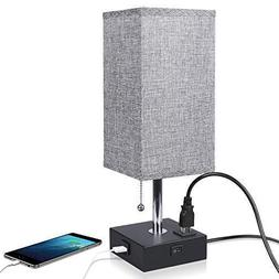 Nightstand Lamp Built in USB Charging Port & Power Outlet, G