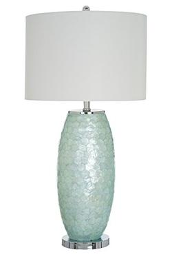"Catalina Lighting Nova 32"" Aqua Sea Glass Capiz and Metal Ov"