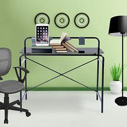 Office Glass Computer Desk,Study Laptop Desk,Sturdy Glass Su