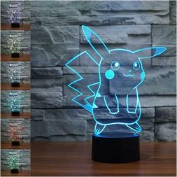 Pokemon Pikachu 3D LED Night Light 7 Colors - Touch Table De