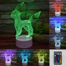 Pokemon Umbreon Remote 3D Acrylic LED 7 Color Night Light De