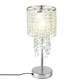 Surpars House Raindrop Silver Crystal Table Lamp for Bedroom