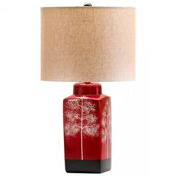Red Asian 1 Light Down Lighting Table Lamp From The Thomas C