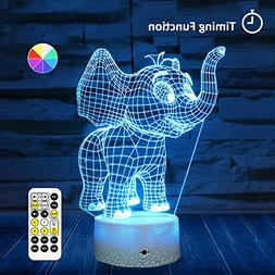 Remote & Touch Control LED Elephant Night Light with Timer