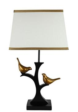 Urbanest Resting Bird Table Lamp with Shade, Black with Gold