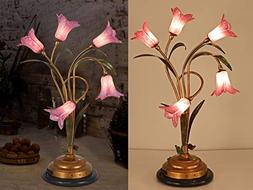 SALSA LIGHTING Crafted Table Lamp,Colored Lily Flower Accent