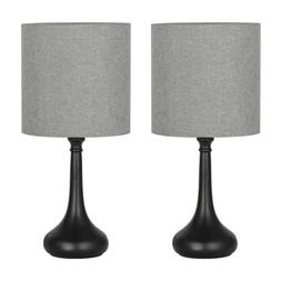 Set of 2 Bedside Table Lamps Gray Line Fabric Lampshade Blac