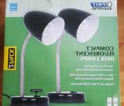 Set of 2 feit electric compact fluorescent desk lamps . On o