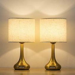 Haitral Set Of 2 Gold Table Lamps Small Desk Lamp With White