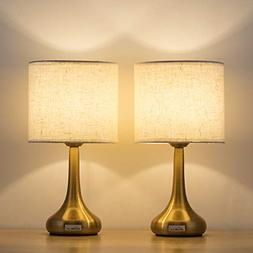 HAITRAL Set of 2 Gold Table Lamps - Small Desk Lamp with Whi