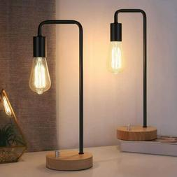 Set of 2 Industrial Desk Lamp with Wooden Base, Retro Office