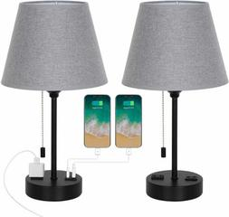Set of 2 Modern Table Desk Lamp with Dual USB Ports AC Outle