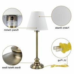 Set of 2 Table Lamps Antique Gold Metal Fabric Shades Bedsid