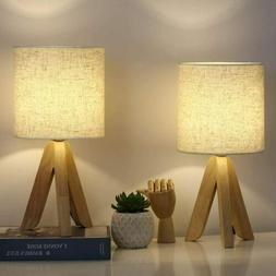 Set of 2 Wooden Tripod Nightstand Lamp Table Desk Lamps for