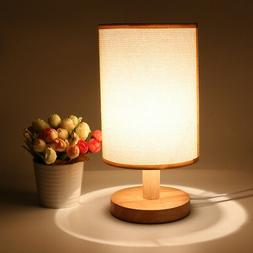 Simple Table Lamp Bedside Desk Lamp Fabric Shade Solid Wood