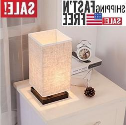 ZEEFO Simple Table Lamp Bedside Desk Lamp With Fabric Shade