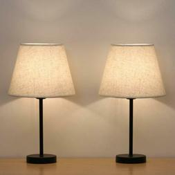 Set of 2 Small Nightstand Table Lamps Gift with Fabric Shade