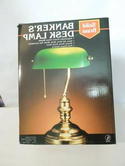 Solid Brass Banker's Desk Lamp with Adjustable Green Glass S