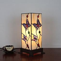 7 Inch Square Butterfly Retro Antique Tiffany Table Lamp Bed