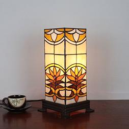 7 Inch Square Retro Antique Tiffany Table Lamp Bedside Lamp