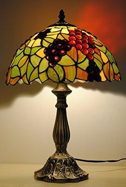 12-Inch Stained Glass Countryside Grape Tiffany Table Lamp B