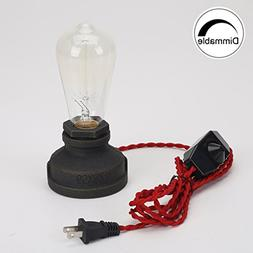 Kiven Steampunk Table Lamp UL Red Weave Rope Dimmer Switch C