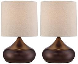 "Steel Droplet 14 3/4""H Brown Small Accent Lamps Set of 2"