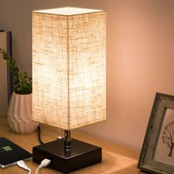 Table Desk Lamp USB Charging Port Fabric Shade Nightstand fo