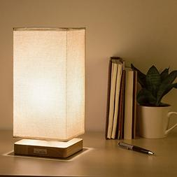 HAITRAL Table Lamp Bedside Desk Lamp with Fabric Shade Wood