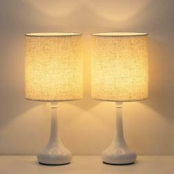HAITRAL Table Lamp Bedside Desk Lamp with Fabric Lamp Shade