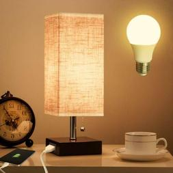 Table Lamp Nightstand LED Light Wooden Base USB Charging Des