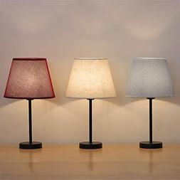 Small Table Lamps Pack of 3 - HAITRAL Bedside Desk Lamp with