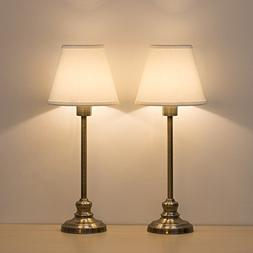 HAITRAL Set of 2 Table Lamps Antique Gold Metal Fabric Shade