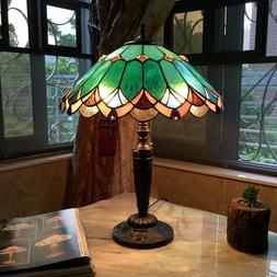 """Tiffany Style 21"""" Tall Jade Green Stained Glass 2 Bulb Table"""