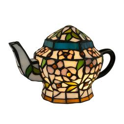 Tiffany Style Teapot Table Desk Lamp Stained Glass LED Bulb