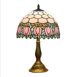 Tiffany Style Table Lamp ,12-inch Stained Glass Pink Tulip